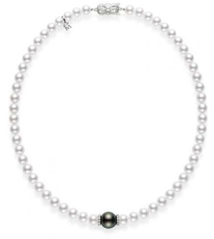 """Mikimoto 18K White Gold 18"""" Necklace, Featuring (1) 11MM A+ Quality Black South Sea Cultured Pearl, 7-7.5MM A Quality Akoya Cultured Pearls and 24 Round Diamonds =.40ctw"""