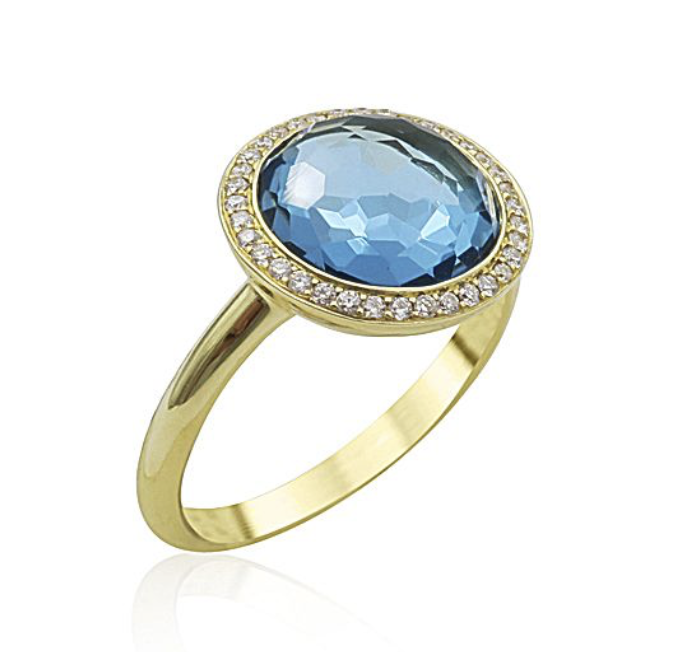 Ippolita 18K Yellow Gold Mini Lollipop Ring, Featuring Swiss Blue Topaz, Accented with Pave Set Round Diamonds =.18ctw