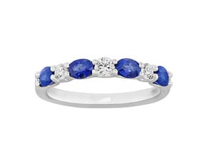 Spark 18K White Gold Shared Prong Band, Featuring 4 Oval Blue Sapphires =.92ctw and 3 Round Diamonds =.21ctw