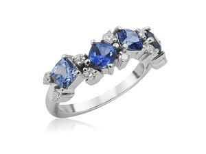 Penny Preville 18K White Gold Band, Featuring 4 Cushion Shaped Ombre Blue Sapphires =1.68ctw, Accented with 9 Round Diamonds =.27ctw