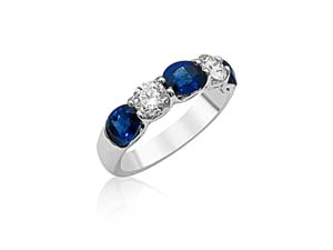 JB Star Platinum Shared Prong Band, Featuring 3 Oval Blue Sapphires =2.35ctw and 2 Round Diamonds =.74ctw