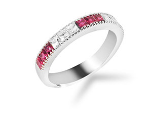 Bez Ambar Blaze Diamond and Ruby Band, Fashioned in 18K White Gold, Featuring Six Blaze Diamonds =.35cts Total Weight and Nine Square Rubies =.68cts Total Weight, Alternating Three Diamonds, Three Rubies