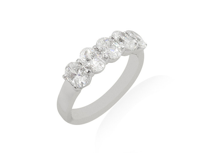 Alson Signature Collection 18K White Gold Diamond Band, Featuring 5 Oval Diamonds =1.53cts Total Weight, H Color, SI1 Clarity