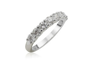 Alson Signature Collection 18K White Gold Shared Prong Diamond Band, Featuring 8 Round Diamonds =.85ctw, G-H Color, SI1-2 Clarity