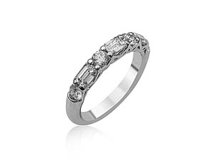 JB Star Platinum Shared Prong Band, Featuring 3 Emerald Cut Diamonds =.62ctw and 4 Round Diamonds =.46ctw, in an Alternating Shared Prong Design