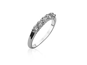 Alson Signature Collection 18K White Gold Shared Prong Band, with 5 Round Diamonds =.50ctw, G-H Color, SI Clarity
