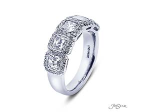 JB Star Platinum Bezel Set Band, Featuring 5 Radiant Diamonds =1.61ctw, Accented with 60 Pave Set Round Diamonds =.34ctw