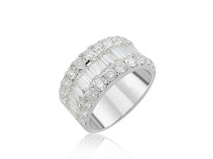 Alson Signature Collection 18K White Gold Band, Featuring 26 Round Diamonds =1.75ctw and 20 Baguette Diamonds=1.60ctw