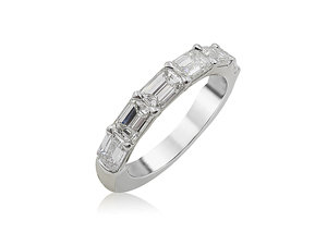 Alson Signature Collection 18K White Gold Horizontally Set Band, Featuring 7 Emerald Cut Diamonds =2.27ctw, G-H Color, VS Clarity