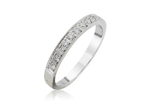 Alson Signature Collection 18K White Gold Single Row Micro Pave Set Milgrain Band, Featuring 17 Round Diamonds =.34ctw, G-H Color, VS Clarity