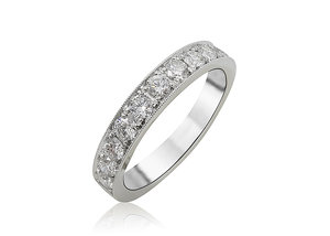 Alson Signature Collection 18K White Gold Single Row Micro Pave Set Milgrain Band, Featuring 12 Round Diamonds =.68ctw, G-H Color, VS Clarity