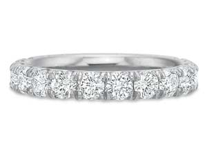Precision Set 18K White Gold Comfort Fit Prong Set Band, Featuring 11 Round Diamonds =1.05ctw