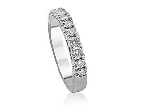 Precision Set 18K White Gold Petite Prong Band, Featuring 14 Round Diamonds =.50ctw
