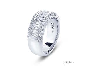JB Star Platinum Channel Set Band, Featuring 12 JBS Cut Diamonds, Accented with 26 Pave Set Round Diamonds =2.08ctw