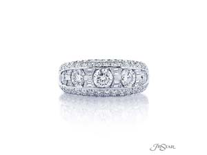 JB Star Platinum Channel & Pave Set Band, Featuring 8 Trapezoid Diamonds=.51ctw and 5 Round Diamonds =1.14ctw, Accented with 62 Pave Set Round Diamonds =.90ctw
