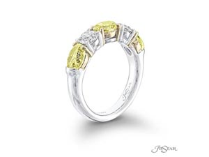 JB Star Platinum & 18K Yelow Gold Shared Prong Band, Featuring 3 Oval Fancy Yellow Diamonds =2.28ctw and 2 Round White Diamonds =.81ctw