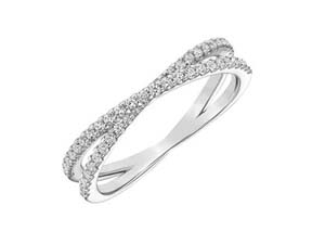 ArtCarved 14K White Gold Stackable Criss Cross Diamond Band