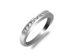 ArtCarved Channel Set Diamond Wedding Band, Fashioned in 14K White Gold and Featuring Twelve Round Diamonds =.20cts Total Weight, SI2 Clarity, H/I Color