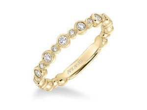 ArtCarved 14K Yellow Gold Stackable Milgrain Edge Band, Featuring 13 Round Diamonds =.25ctw