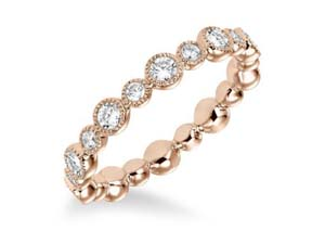 ArtCarved Stackable Band, Fashioned in 14K Rose Gold, Featuring Twenty Round Diamonds =.90cts Total Weight