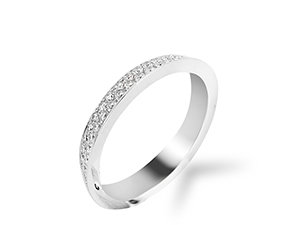 Bez Ambar 18K White Gold 2 Row Diamond Pave Bookend Band, 82 Round Diamonds, .70ct.