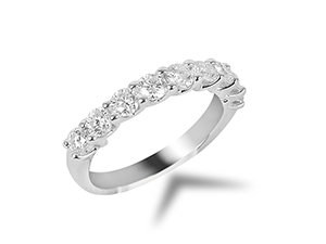 Alson Signature Collection Diamond Band, Fashioned in 14K White Gold and Featuring 9 Round Diamonds =1.00ctw, G/H Color, SI Clarity