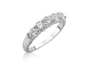 Alson Signature Collection 18K White Gold Shared Prong Band, Featuring 5 Round Diamonds =.75cts Total Weight, G/H Color, SI Clarity