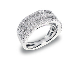 From the Alson Signature Collection, 18K White Gold 5 row Wavy Diamond Band with 109 Round Diamonds weighing 1.30ct.