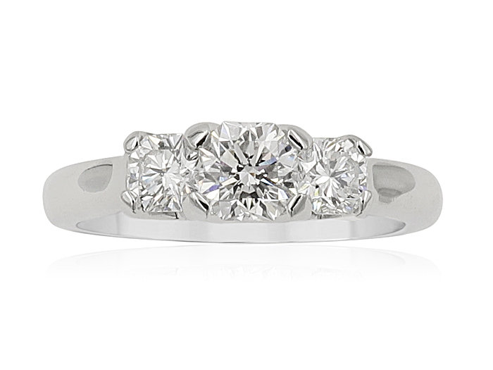 Elara Platinum Band, Featuring a .52 Carat Elara Diamond, F Color, SI1 Clarity ,GIA Certified, Accented with 2 Elara Diamonds =.49cts Total weight, H/I, SI, with 8 Round Diamonds =.10cts Total Weight