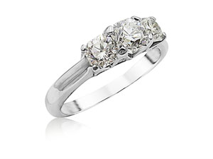 Alson Signature Collection Platinum Three-Stone Band, Featuring a .70ct Elara Diamond, G Color, SI2 Clarity, Accented with 2 Elara Diamonds =.74ctw, G Color, SI1 Clarity and 8 Round Diamonds =.05ctw