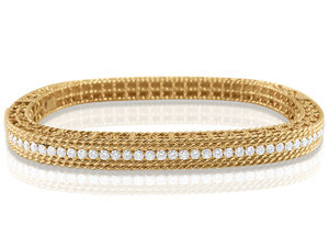 Roberto Coin 18K Rose Gold Princess Diamond Bangle Bracelet, Featuring 49 Round Diamonds =1.00ct Total Weight