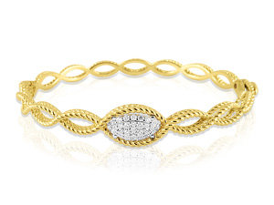 Roberto Coin 18K Yellow Gold New Barocco Braid Diamond Bangle Bracelet, Featuring Round Diamonds =.24cts Total Weight