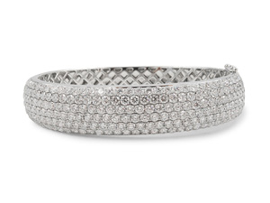 Alson Signature Collection 18K White Gold Six-Row Diamond Hinged Bangle Bracelet, Featuring 207 Round Diamonds =9.22cts Total Weight