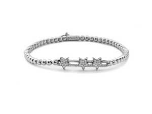 Hulchi Belluni 18K White Gold Tresore Diamond Star Stretch Bracelet