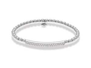 Hulchi Belluni 18K White Gold Tresore Diamond Bar Stretch Bracelet