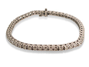 Alson Signature Collection Diamond Bracelet, Fashioned in 14K White Gold, Featuring Fifty-Five Round Diamonds =3.20cts Total Weight, G Color, SI Clarity, Set in a Four-Prong Mounting