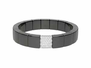 Roberto Demeglio Matte Black Ceramic & 18K White Gold Square Link Stretch Bracelet, Featuring Round Diamonds =.67cts Total Weight