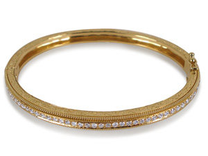 Penny Preville Engraved Hinged Bangle Bracelet, Fashioned in 18K Yellow Gold, Featuring Forty-Two Pave Set Round Diamonds =.88cts Total Weight