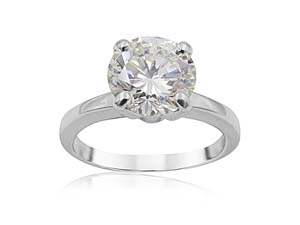 Alson Signature Collection Platinum Solitaire Engagement Ring, Featuring a 2.20ct Round Diamond, K Color, SI1 Clarity