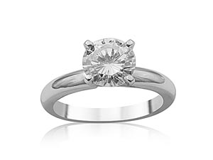 Alson Signature Collection Platinum Solitaire Engagement Ring, Featuring a 1.09ct Round Diamond, E Color, VS2 Clarity, GIA Certified