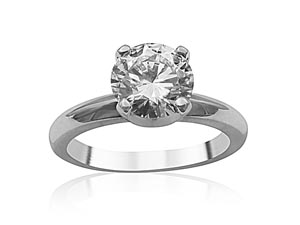 Alson Signature Collection 14K White Gold Solitaire Engagement Ring, Featuring a 1.50ct Round Diamond, G Color, SI1 Clarity, GIA Certified