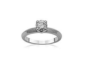 Alson Signature Collection 14K White Gold Solitaire Engagement Ring, Featuring a .50ct Round Diamond, G Color, SI1 Clarity, GIA Certified