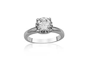 Alson Signature Collection 14K White Gold Solitaire Engagement Ring, Featuring a 2.03ct Round Diamond, I Color, SI2 Clarity, GIA Certified