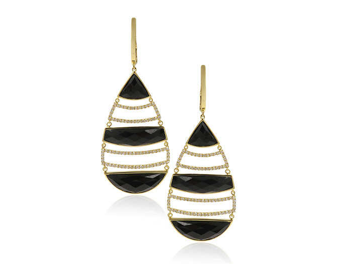 Doves 18K Yellow Gold Diamond Earrings with Black Onyx. 160 Diamonds=.62cts Total Weight, BO=12.64