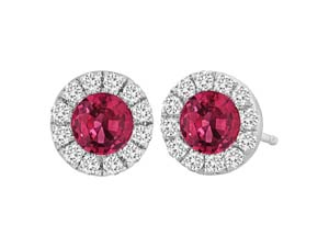 Spark 18K White Gold Stud Earrings, Featuring 2 Round Rubies =.40cts Total Weight, Accented with 24 Round Diamonds =.15cts Total Weight