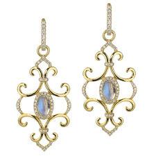 Katie Decker 18K Yellow Gold Moonstone & Diamond Earrings