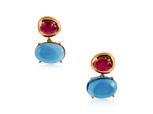 Brumani Corcovado Drop Earrings, Fashioned in 18K Rose Gold, Featuring Two Oval Rhodolite Garnets =1.94cts Total Weight and Two Oval London Blue Topaz =17.22cts Total Weight
