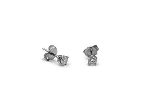 Alson Signature Collection 14K White Gold Stud Earrings, Featuring 2 Round Diamonds =.24cts Total Weight, I1 Clarity, H Color