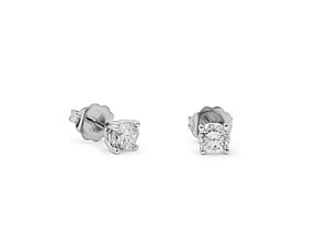 Alson Signature Collection 14K White Gold Diamond Stud Earrings, Featuring 2 Round Diamonds =.48cts Total Weight, I1 Clarity, H Color