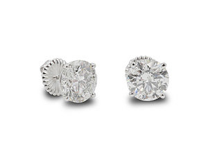 Alson Signature Collection 14K White Gold Stud Earrings, Featuring 2 Round Diamonds =7.05ctw, H Color, I1 Clarity